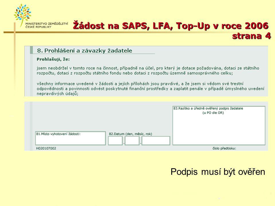 Žádost na SAPS, LFA, Top-Up v roce 2006 strana 4
