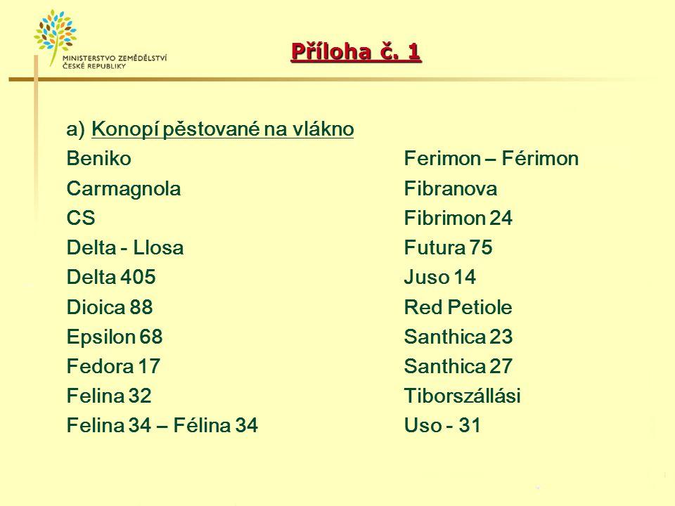 Příloha č. 1 a) Konopí pěstované na vlákno. Beniko Ferimon – Férimon. Carmagnola Fibranova.