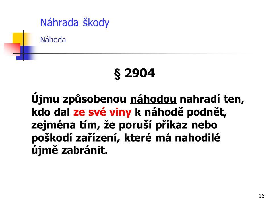 Náhrada škody Náhoda § 2904.