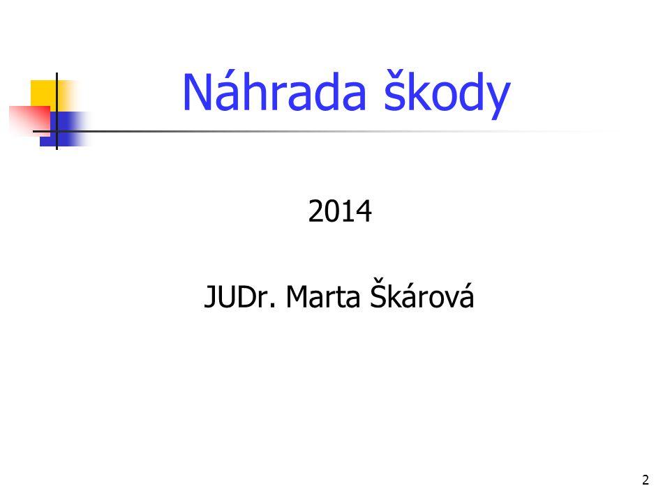 Náhrada škody 2014 JUDr. Marta Škárová