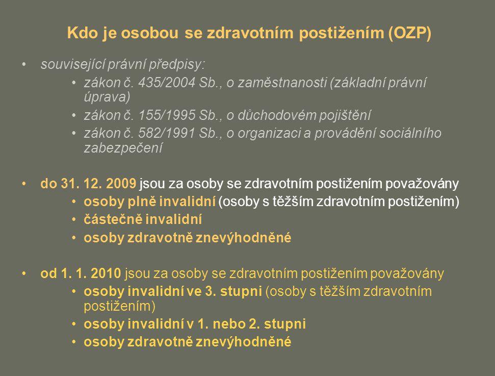 Kdo je osobou se zdravotním postižením (OZP)