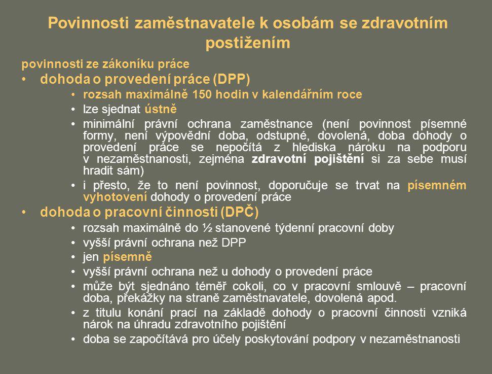 Povinnosti zaměstnavatele k osobám se zdravotním postižením
