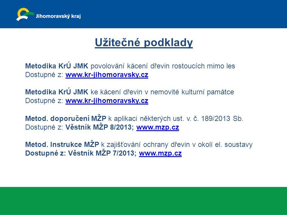 Užitečné podklady Metodika KrÚ JMK povolování kácení dřevin rostoucích mimo les. Dostupné z: www.kr-jihomoravsky.cz.