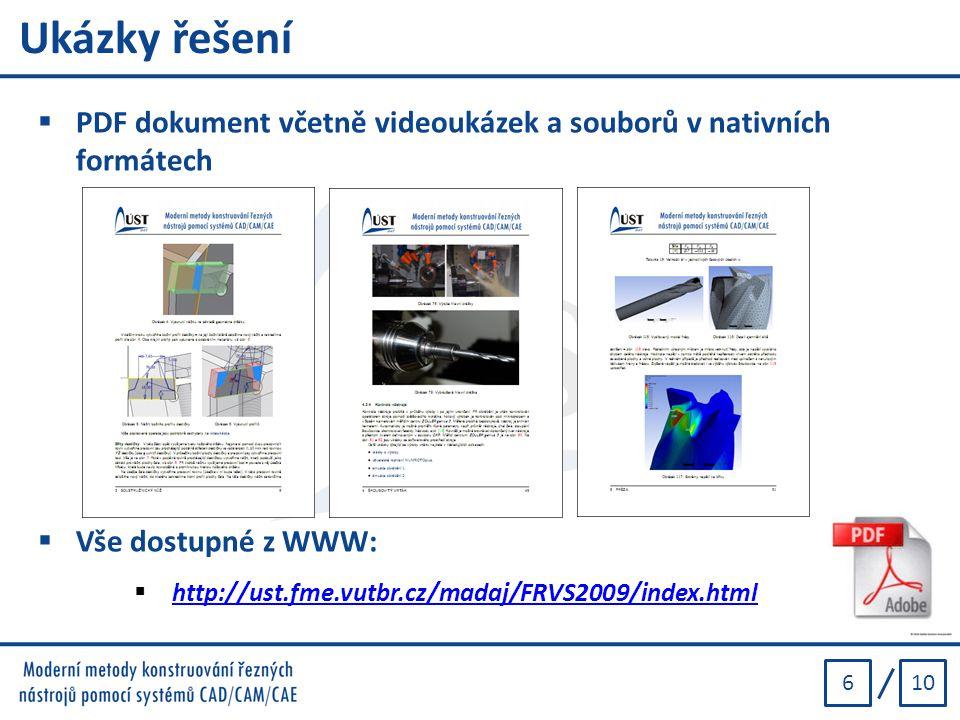 Ukázky řešení PDF dokument včetně videoukázek a souborů v nativních formátech. Vše dostupné z WWW: