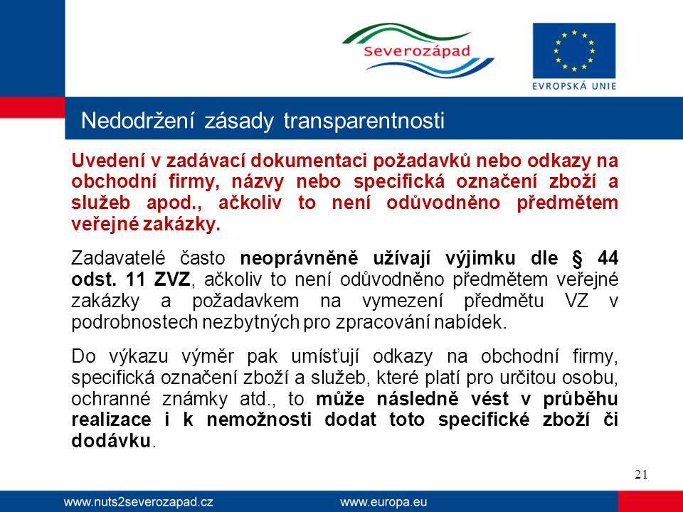 Nedodržení zásady transparentnosti