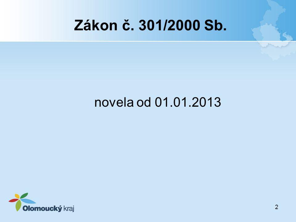 Zákon č. 301/2000 Sb. novela od 01.01.2013.