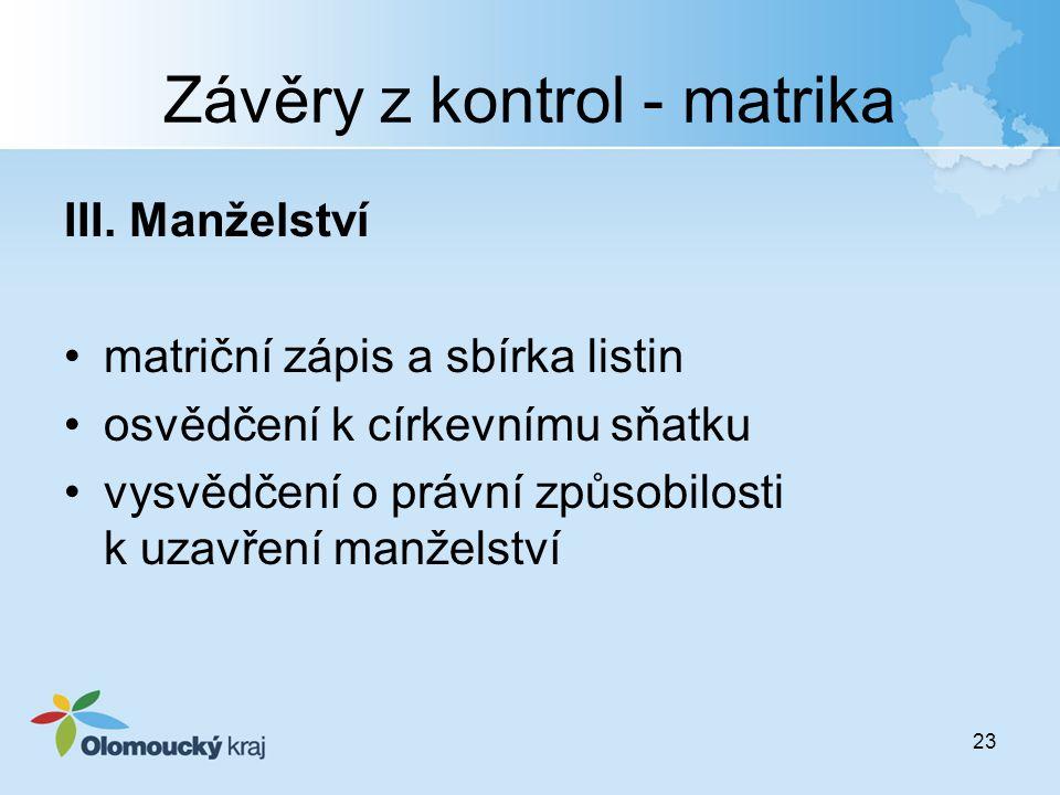 Závěry z kontrol - matrika