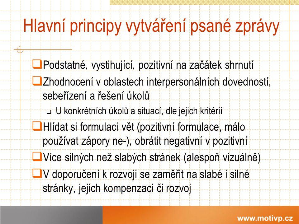 Hlavní principy vytváření psané zprávy