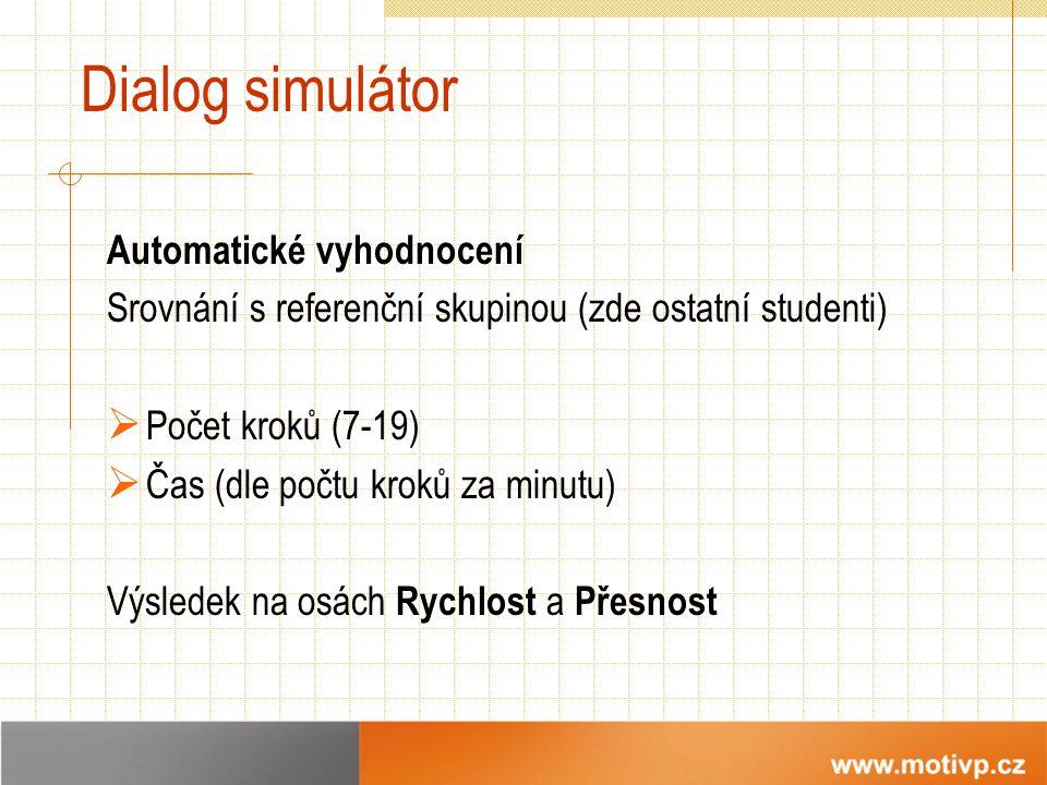 Dialog simulátor Automatické vyhodnocení