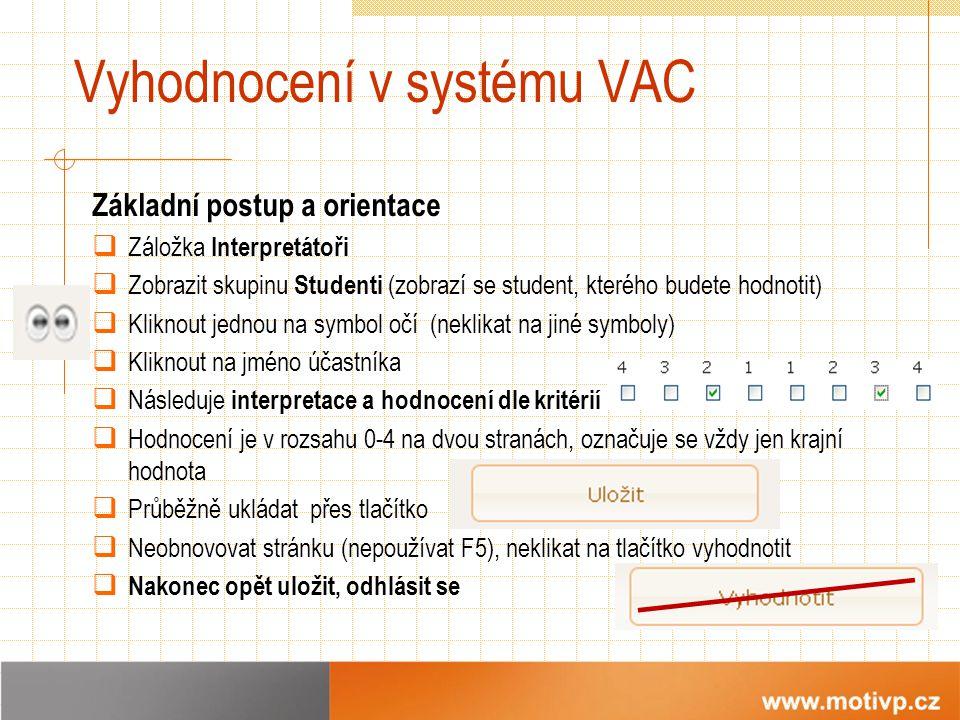 Vyhodnocení v systému VAC