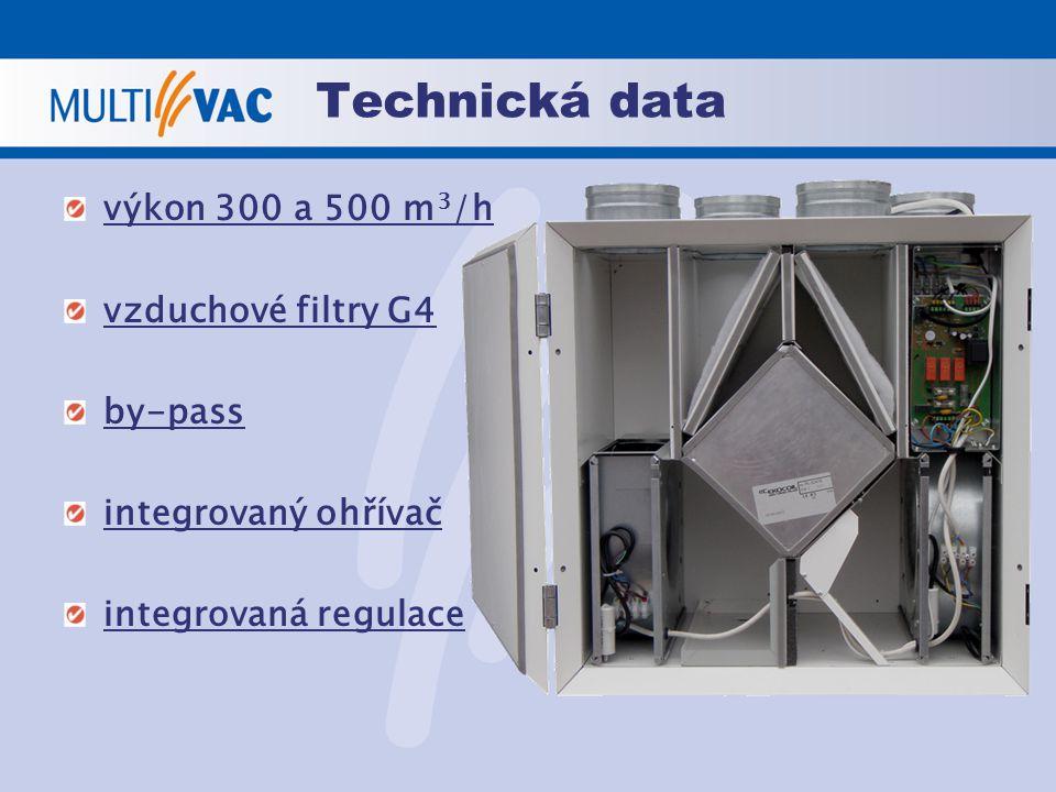Technická data výkon 300 a 500 m3/h vzduchové filtry G4 by-pass