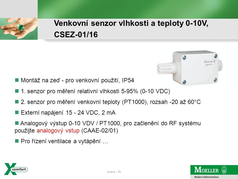 Venkovní senzor vlhkosti a teploty 0-10V, CSEZ-01/16