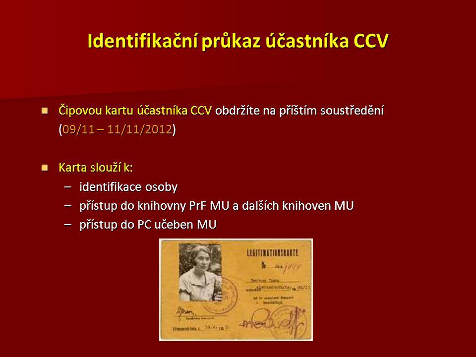 Identifikační průkaz účastníka CCV