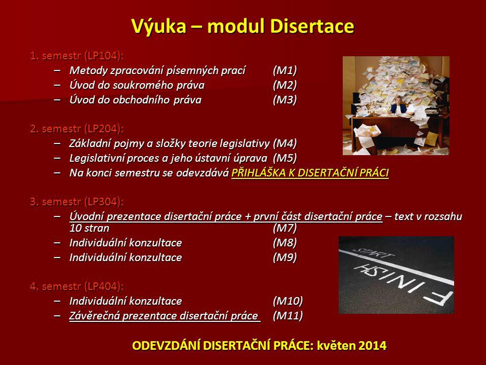 Výuka – modul Disertace