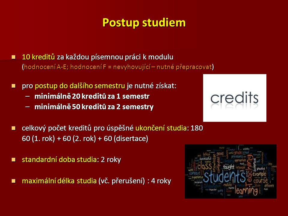 Postup studiem 10 kreditů za každou písemnou práci k modulu