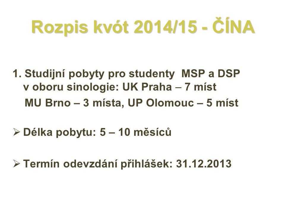 Rozpis kvót 2014/15 - ČÍNA 1. Studijní pobyty pro studenty MSP a DSP v oboru sinologie: UK Praha – 7 míst.