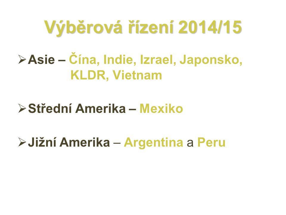 Výběrová řízení 2014/15 Asie – Čína, Indie, Izrael, Japonsko, KLDR, Vietnam. Střední Amerika – Mexiko.