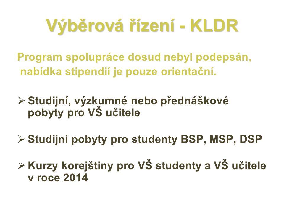 Výběrová řízení - KLDR Program spolupráce dosud nebyl podepsán,