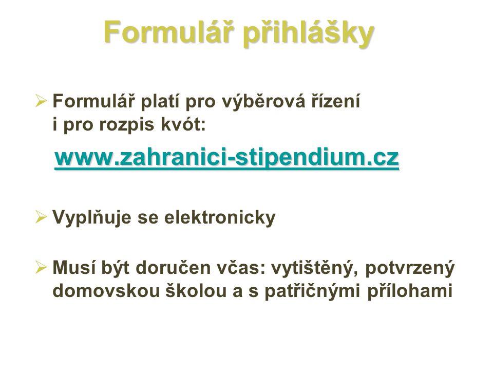Formulář přihlášky www.zahranici-stipendium.cz