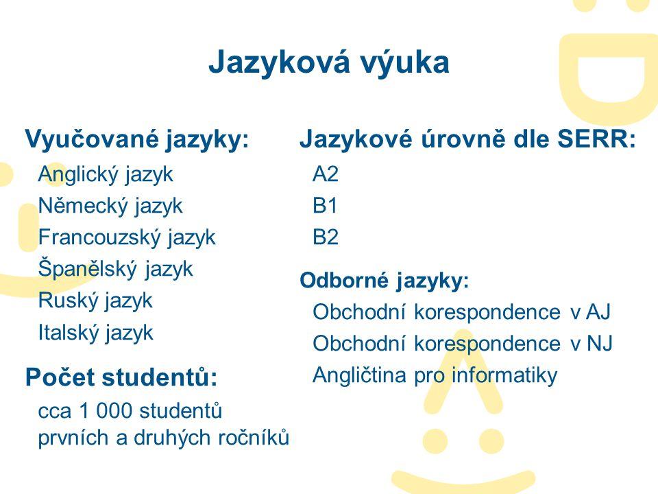 Jazyková výuka Vyučované jazyky: Jazykové úrovně dle SERR: