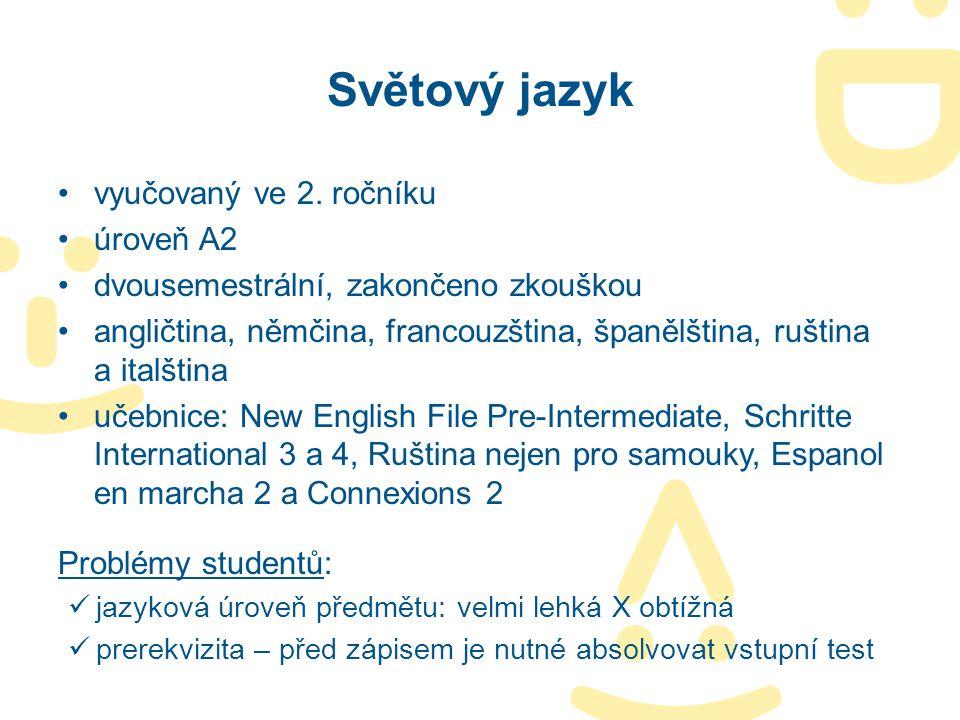Světový jazyk vyučovaný ve 2. ročníku úroveň A2