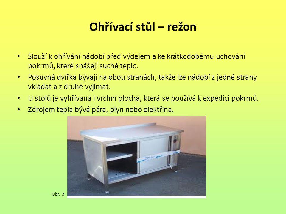 Ohřívací stůl – režon Slouží k ohřívání nádobí před výdejem a ke krátkodobému uchování pokrmů, které snášejí suché teplo.