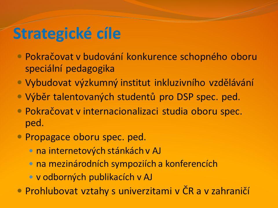 Strategické cíle Pokračovat v budování konkurence schopného oboru speciální pedagogika. Vybudovat výzkumný institut inkluzivního vzdělávání.