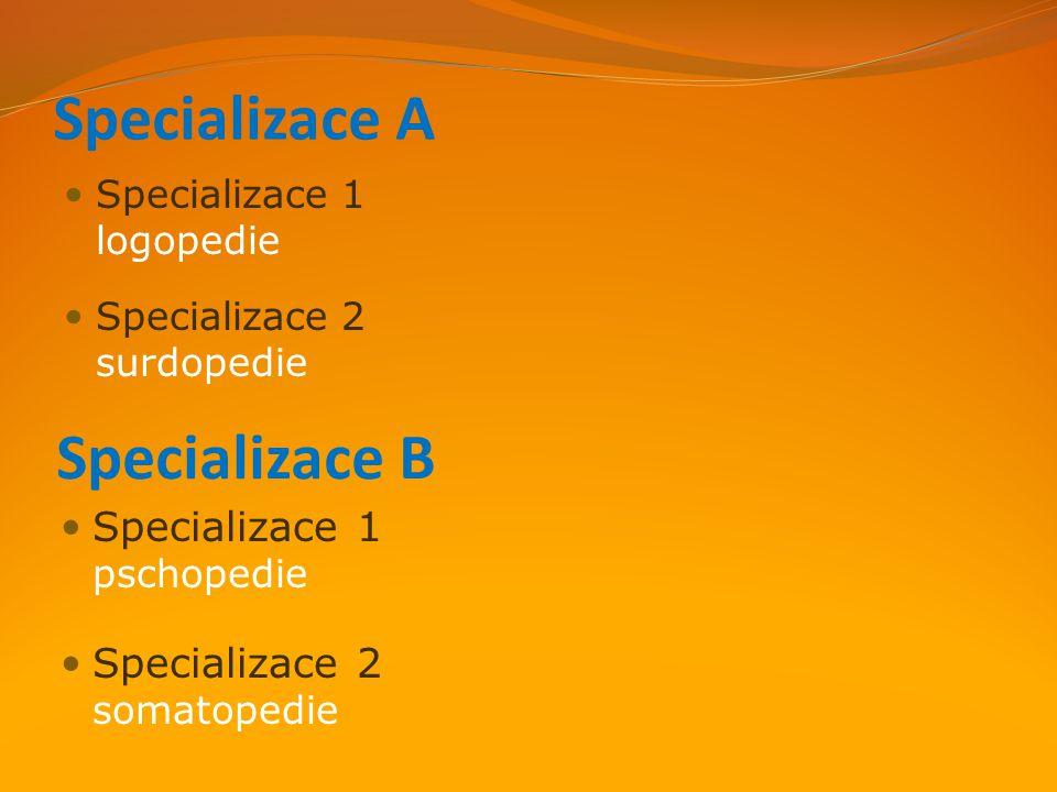 Specializace A Specializace B Specializace 1 pschopedie