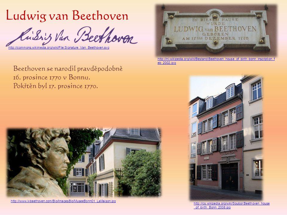 Ludwig van Beethoven Beethoven se narodil pravděpodobně