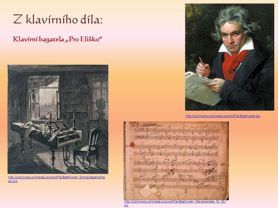 """Z klavírního díla: Klavírní bagatela """"Pro Elišku"""