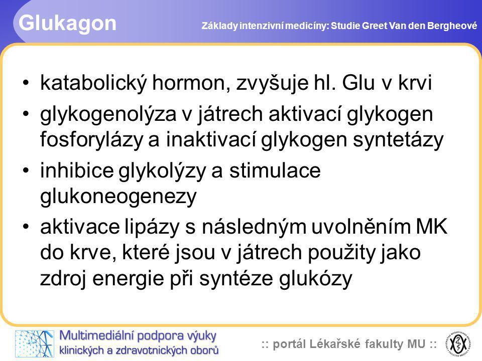 katabolický hormon, zvyšuje hl. Glu v krvi
