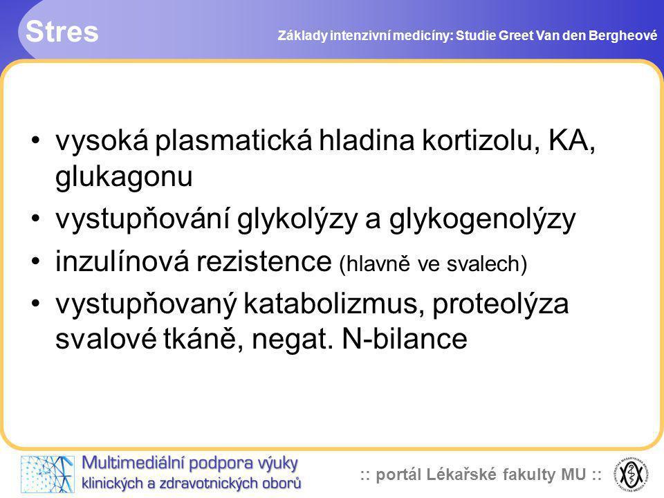 vysoká plasmatická hladina kortizolu, KA, glukagonu