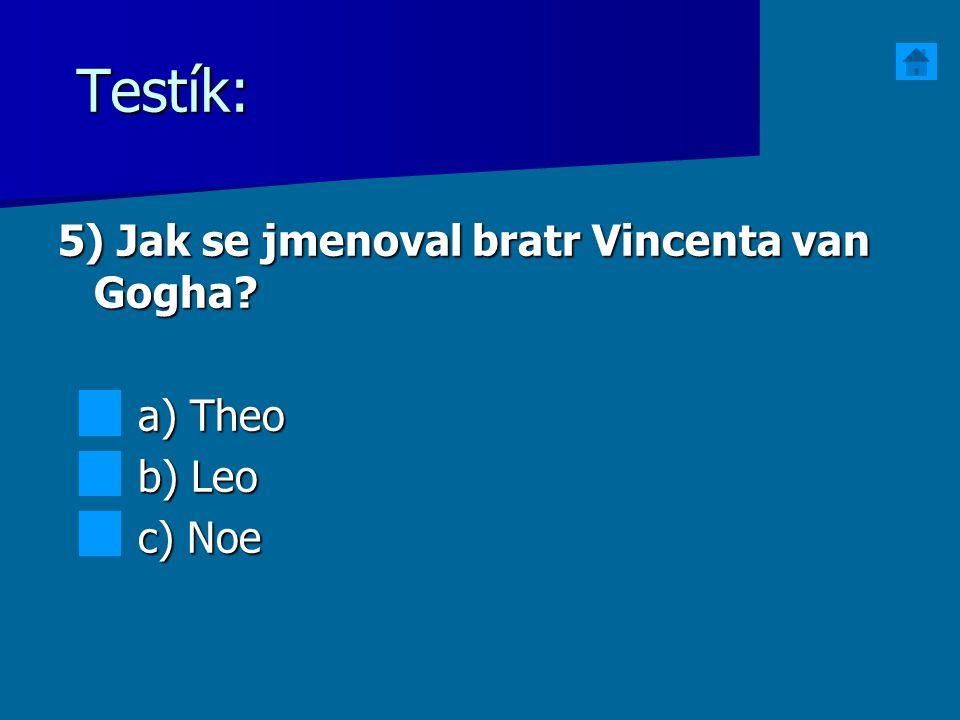 Testík: 5) Jak se jmenoval bratr Vincenta van Gogha a) Theo b) Leo