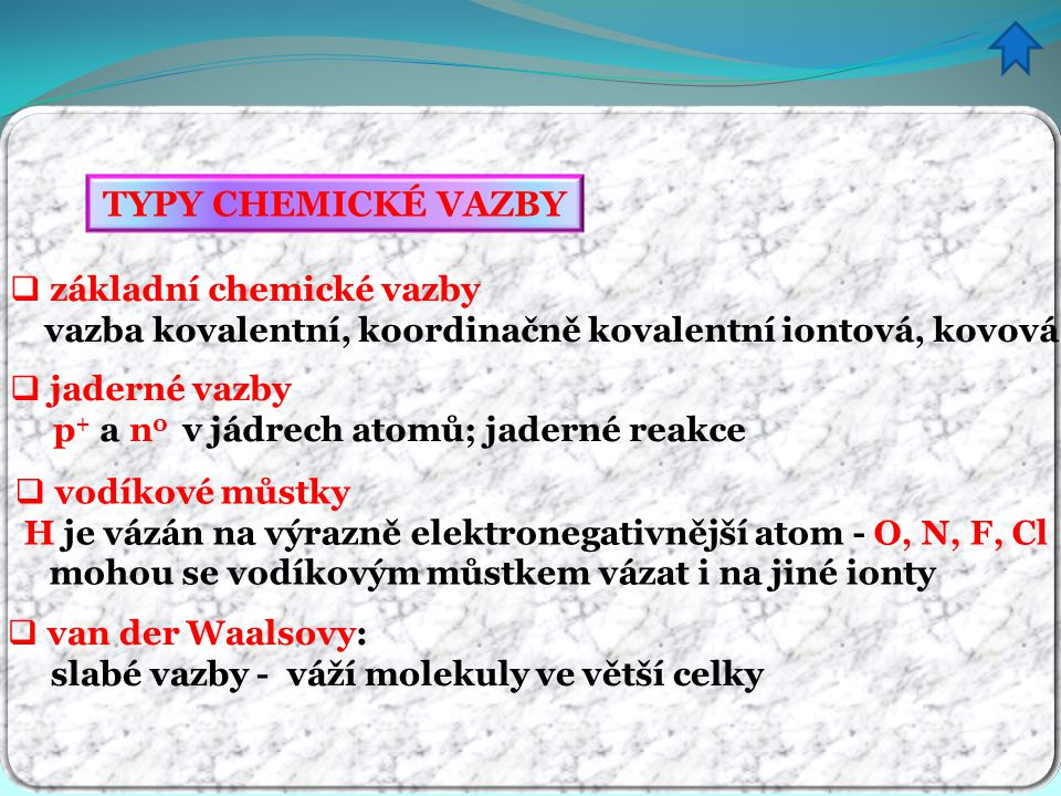 TYPY CHEMICKÉ VAZBY základní chemické vazby