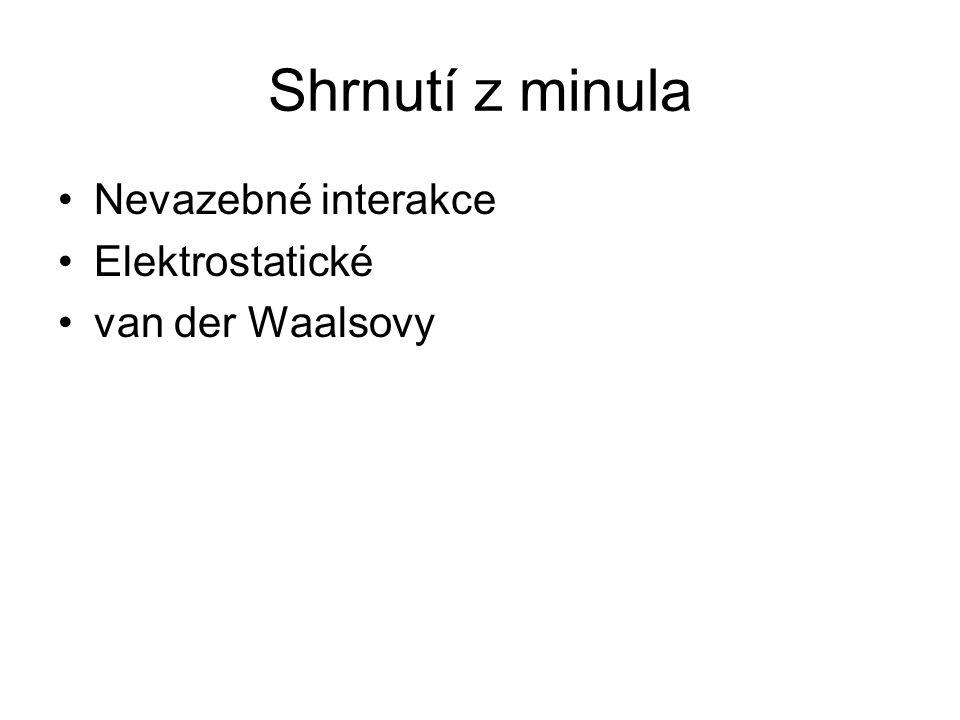 Shrnutí z minula Nevazebné interakce Elektrostatické van der Waalsovy