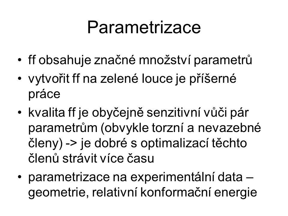 Parametrizace ff obsahuje značné množství parametrů