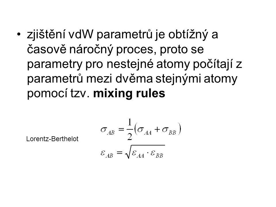 zjištění vdW parametrů je obtížný a časově náročný proces, proto se parametry pro nestejné atomy počítají z parametrů mezi dvěma stejnými atomy pomocí tzv. mixing rules