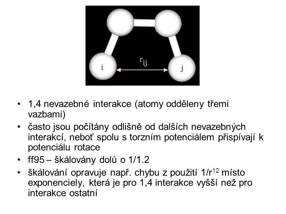 1,4 nevazebné interakce (atomy odděleny třemi vazbami)