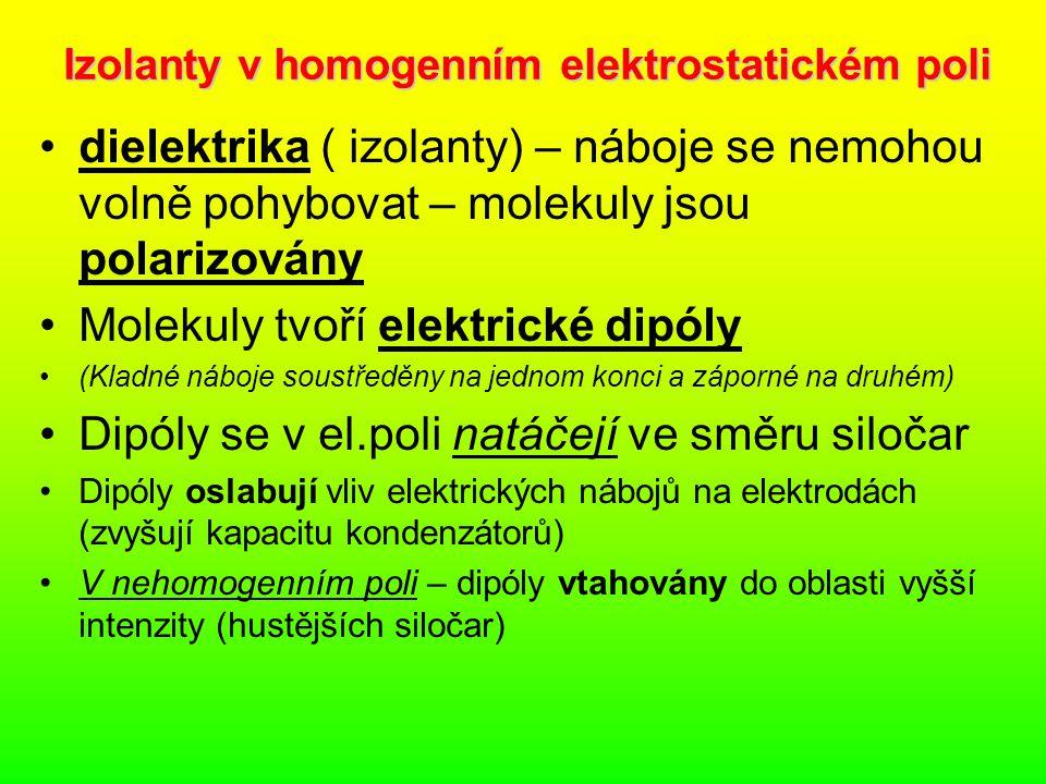 Izolanty v homogenním elektrostatickém poli