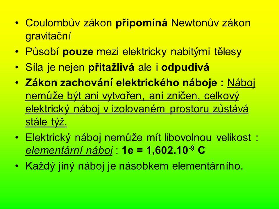Coulombův zákon připomíná Newtonův zákon gravitační
