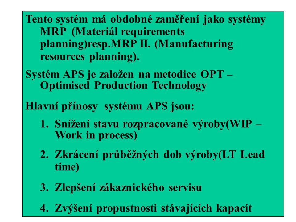 Tento systém má obdobné zaměření jako systémy MRP (Materiál requirements planning)resp.MRP II. (Manufacturing resources planning).