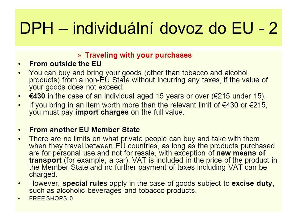 DPH – individuální dovoz do EU - 2
