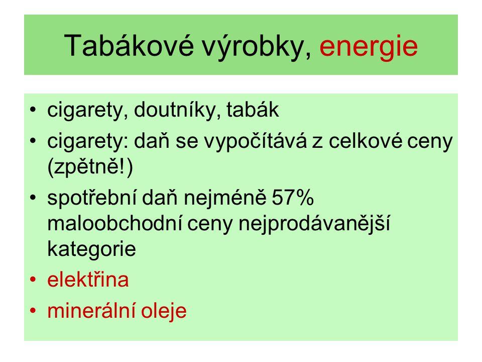 Tabákové výrobky, energie