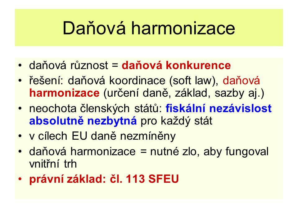 Daňová harmonizace daňová různost = daňová konkurence