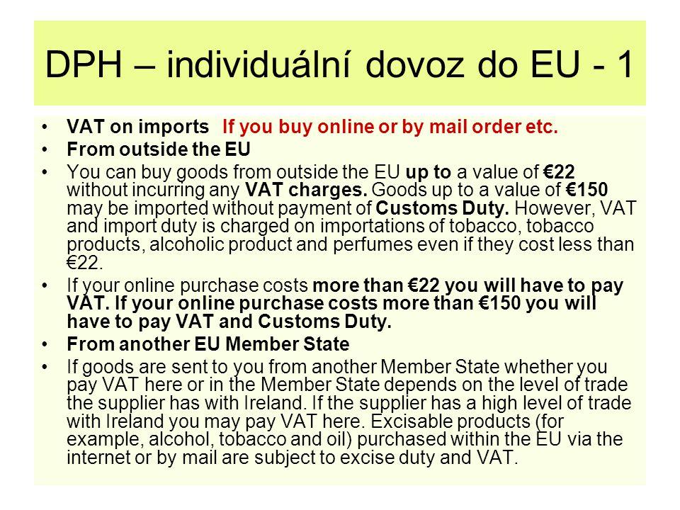 DPH – individuální dovoz do EU - 1