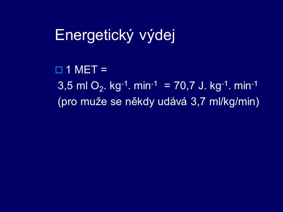 Energetický výdej 1 MET = 3,5 ml O2. kg-1. min-1 = 70,7 J. kg-1. min-1
