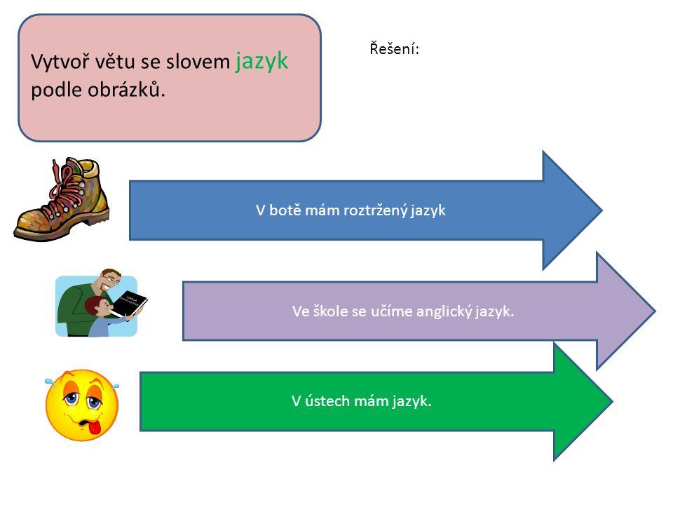 Vytvoř větu se slovem jazyk podle obrázků.
