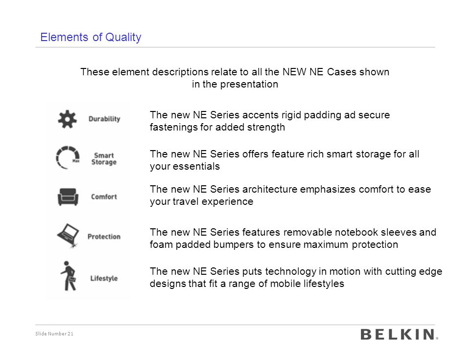 Elements of Quality These element descriptions relate to all the NEW NE Cases shown in the presentation.