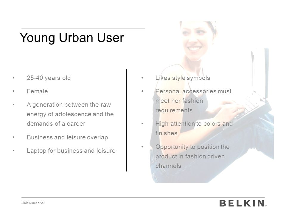 Young Urban User 25-40 years old Female