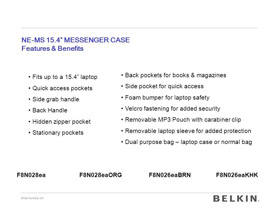 NE-MS 15.4 MESSENGER CASE Features & Benefits